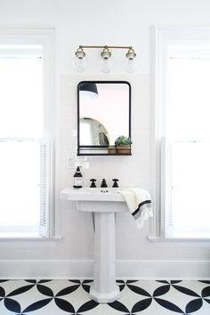 How to Hang a Bathroom Mirror on Ceramic Tile — Apartment Therapy Tutorials Diy Bathroom Mirror Cabinets, Small Bathroom Mirrors, Bathroom Mirror With Shelf, Bathroom Mirror Makeover, Diy Vanity Mirror, Diy Bathroom Vanity, Bathroom Ideas, Bathroom Black, Pedestal Sink Bathroom