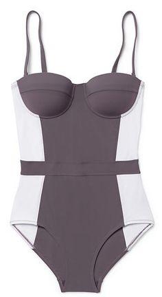 gorgeous grey colorblock swimsuit