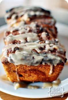 Glazed Pumpkin Cinnamon Pull-Apart Bread - use Artisan Bread in 5 Pumpkin Brioche dough and freeze in small loaves with frosting on the side.