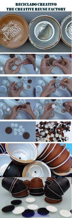 Cómo limpiar y preparar para reciclar las cápsulas de café Dolce Gusto https://www.youtube.com/watch?v=UOJ0Ks2oOGg  8.How to clean and prepare dolce gusto coffee capsules to recycle them -