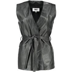 Leather Tachikata Vest (47.145 RUB) ❤ liked on Polyvore featuring outerwear, vests, vest waistcoat, genuine leather vest, leather waistcoat, heart vest and tie belt