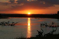 Zonsondergang in South Luangwa National Park Zambia