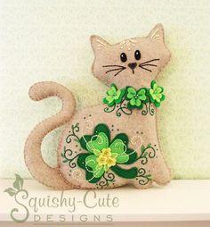 Cat Stuffed Animal Pattern - Felt Plushie Sewing Pattern & Tutorial - Shamrock the St. Patrick's Day Cat - Embroidery Pattern