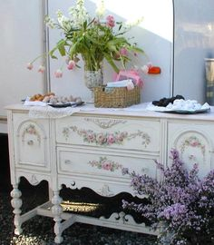 French buffet with hand painted roses...  Ok heres what I am going to do with my buffet I am going to redo.
