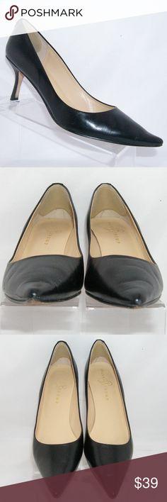 Ivanka Trump 'Indico' black leather pump heel 10N