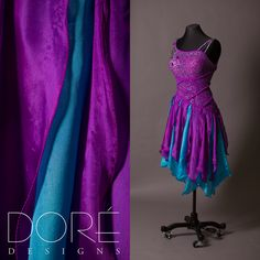 Hot Magenta Latin w/ Braided Rope Design on Bodice & Flounced Skirt w/ Turquoise Accents