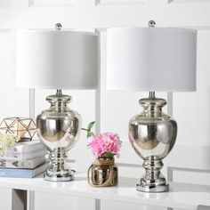 Safavieh Morocco 28 in. Silver/Ivory Glass Vase Table Lamp wit Off-White Shade (Set of 2)-LIT4052E-SET2 - The Home Depot White Table Lamp, Table Lamp Sets, Colored Glass Vases, Silver Lamp, Chair Side Table, Contemporary Table Lamps, Bedside Table Lamps, Drum Shade, My Living Room