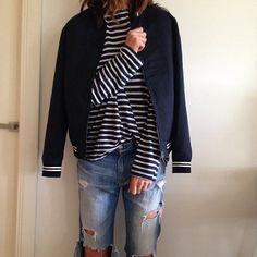 striped shirt - ripped denim shorts - classic coat - normcore 2014 fashion