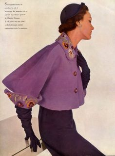 The gloves dovetail with the capelet by Elsa Schiaparelli, 1950