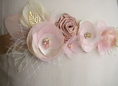Rose Gold Wedding Sash  Blush Champagne Bridal Sash  by FloroMondo