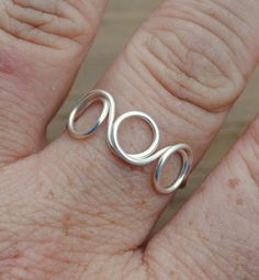Adjustable Wire Wrapped Ring Silver Circles