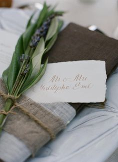 #rustic #burlap napkins adorned with #lavender (Photo by Elizabeth Messina)