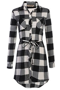 HOTOUCH Womens Black White Plaid Grid Checked Long Sleeve Shirt Dress -- Want additional info? Click on the image.