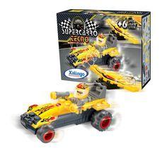 0622.1 - Supercarro Tecno | Carrinho de blocos de montar com fricção. Contém 40 peças. | Faixa Etária: +6 anos | Medidas: 14,5 x 4 x 9,5 cm | Jogos e Brinquedos | Xalingo Brinquedos | Crianças