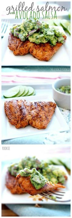 Grilled Salmon with Avocado Salsa. Delicious, healthy and easy. I would take out onions and cilantro. #salmongrill