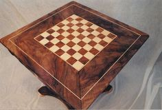 CustomMade by Tom Hannah: Chess Table made of Maple and Claro Walnut. Chess Board Table, Chess Boards, Chess Moves, Wooden Board Games, Board Decoration, Cribbage Board, Woodworking Inspiration, Victorian Furniture, Hanging Lanterns