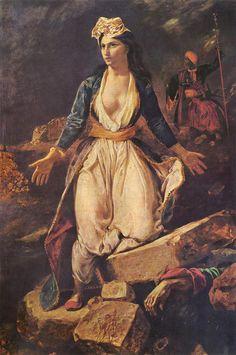 Greece expiring on the Ruins of Missolonghi - Delacroix Eugene Renaissance Art, French Artists, Portrait Art, Portraits, Studio, Old World, New Art, Greece, Art Pieces