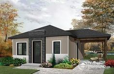 Discover the plan - Maxence from the Drummond House Plans house collection. Small affordable modern 2 bedroom home plan, open kitchen and family room, side deck. Total living area of 640 sqft. Best House Plans, Tiny House Plans, Open Floor Concept, Drummond House Plans, First Home Buyer, Custom Home Designs, New Home Builders, Bedroom Layouts, House Front