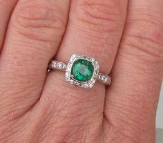 Emerald Vintage Style 14k White Gold Engagement Ring