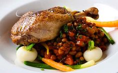 Confit duck leg cassoulet with spring vegetables - so worth the effort!