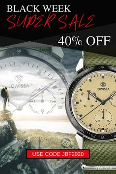 Save money on unique Christmas gifts for that special man in your life. We've extended our Black Friday sale on men's and women's handcrafted Swiss made watches to include all of Thanksgiving week and Cyber Monday. These watches make the perfect present for men who have everything. #Jowissa #SwissMade Amazing Watches, Beautiful Watches, Cool Watches, Great Gifts For Men, Presents For Men, Swiss Watches For Men, Black Week, 35th Birthday, Unique Christmas Gifts
