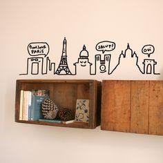 Chispum wall sticker Paris skyline by Javirroyo ::: Vinilo Chispum París Skyline by Javirroyo