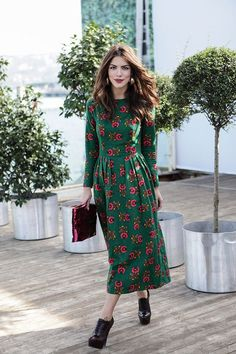 A long sleeve, printed, green, midi dress.