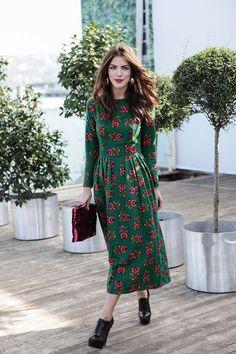 A long sleeve, printed, green, midi dress.