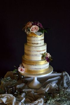 Gold Brushed Semi Naked Wedding Cake-could be with whatever flower colours you choose More from my site Gold leafing and semi naked cake with garden roses Wedding Ideas By Colour: Gold Wedding Cakes – Contemporary Chic Wedding Cakes With Flowers, Cool Wedding Cakes, Beautiful Wedding Cakes, Wedding Cake Designs, Wedding Cake Toppers, Beautiful Cakes, Flower Cakes, 1920s Wedding Cake, Cake Roses