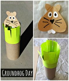 Groundhogs Day Toilet Paper Roll Craft For Kids #groundhog art project #Recycled toilet paper tubes | http://www.sassydealz.com/2014/01/groundhogs-day-toilet-paper-roll-craft.html