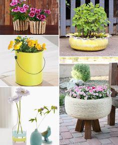 DIY: 20 vasos de flores feitos com materiais reciclados - Casinha Arrumada