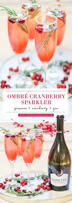 This delicious ombre cranberry sparkler is one of my all-time favorite holiday cocktails! Made with Lunetta prosecco, cranberries, and gin (and garnished with fresh cranberries and rosemary sprigs), this beautiful sparkling cocktail is a crowd favorite th Christmas Gin, Christmas Food Gifts, Christmas Cocktails, Holiday Cocktails, Thanksgiving Drinks, Christmas Holidays, Gin And Prosecco, Prosecco Cocktails, Cranberry Cocktail