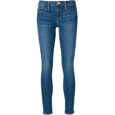 Frame Denim 'Le Skinny Jeanne Wharf' jeans ($305) ❤ liked on Polyvore featuring jeans, pants, blue, skinny leg jeans, frame denim, skinny fit jeans, blue jeans and skinny jeans