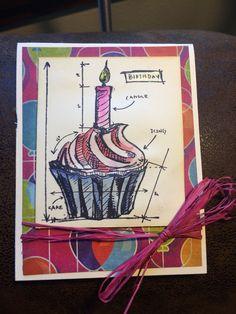 Tim holtz blueprint birthday cupcake by luckylindy