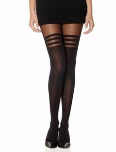 Striped Thigh High Look Tights