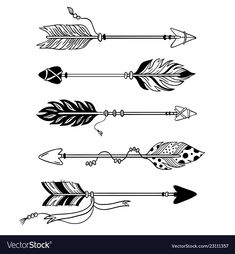 Hand drawn feather arrow, tribal feathers on pointer and decorative boho bow, feather indian arrowhead. Native aztec or hipster tattoo sketch isolated vector symbols set , Geometric Arrow, Tribal Arrows, Tribal Feather, Indian Arrow Tattoo, Feather Arrow Tattoo, Native American Arrow Tattoo, Indian Feather Tattoos, Bow Tattoo Designs, Arrow Tattoo Design