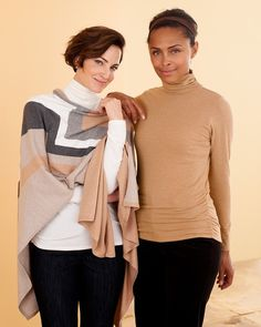 Bold stripes ruana and Ruched turtleneck l #ColdwaterCreek