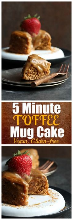 5 Minute Toffee Mug Cake (Vegan and Gluten-Free). Vegan, dairy-free, gluten-free, oil-free toffee mug cake that takes just 5 minutes total to make. (chocolate filling for cake frostings) Vegan Dessert Recipes, Gluten Free Desserts, Vegan Gluten Free, Just Desserts, Dairy Free, Health Desserts, Gluten Free Mug Cake, Vegan Mug Cakes, Cake Vegan