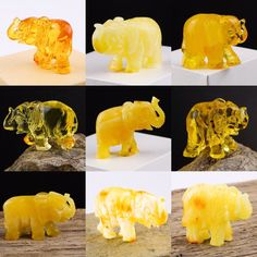 Made in Lithuania. 🇱🇹 A variety of souvenir Baltic amber elephant figurines demonstrating clear honey, egg yolk, and milky white and yellow natural Baltic amber colours. AmberVenueShop on Etsy.