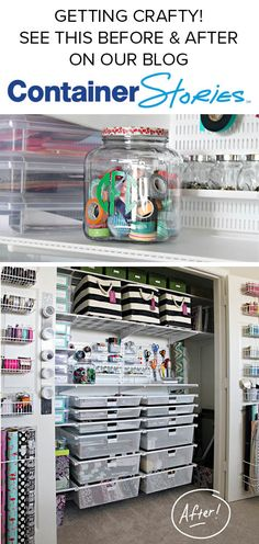See the complete craft closet makeover with boxes, bins, elfa shelving and Home Design Decor, House Design, Storage Organization, Organizing, Elfa Shelving, Room Shelves, Konmari, Paper Clip, Knitting Patterns