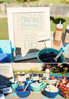 For a breakfast bash, a pancake station with toppings includes sprinkles, bananas, jam, and more.  Source: Hostess With the Mostess