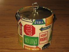 Vintage Mid Century Road Signs Ice Bucket SOLD