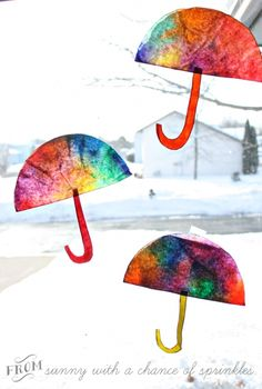 Is it rainy at your house?  How about an indoor craft?   Colorful Umbrella Craft from Sunny with a Chance of Flowers at B-InspiredMama.com