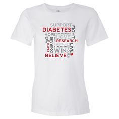 Diabetes awareness Women's Jersey T-Shirt has word cloud design with faith, courage, support, believe, conquer, love, hope, live, fight message. $17.99 www.awarenesstshirts.com #diabetes