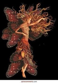 Confessions of a Kitchen Witch: Lammas/Lughnasadh: fairy art Faerie Fairy Dust, Fairy Land, Fairy Tales, Butterfly Fairy, Butterfly Wings, Orange Butterfly, Butterfly Kisses, Magical Creatures, Fantasy Creatures