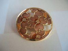 Gold tone cloisonne enamel flowers brooch