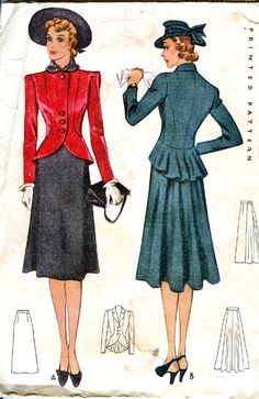 McCall 3436 | 1939 Misses' Two-Piece Suit