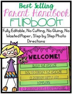 Best-Selling Parent Handbook Flipbook for Open House *Fully Editable Classroom Calendar, Classroom Newsletter, Classroom Ideas, Classroom Organization, Classroom Rules, Letter To Parents, Parents As Teachers, Starting School, Beginning Of School