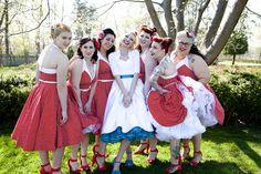 Rockabilly bridesmaids!