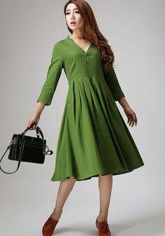 linen dress womens dresses midi dress green dress a line dress 50s dress short sleeve. Black Bedroom Furniture Sets. Home Design Ideas